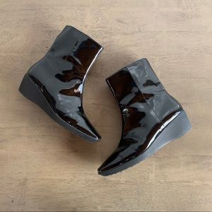 Aquatalia | Black Patent Leather Wedge Boot